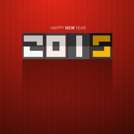 january 1st: Retro Vector Happy New Year 2015 Title on Dark Red Background