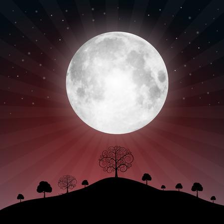 Completo Ilustración Luna con las estrellas y los árboles - ilustración vectorial