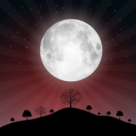 Full Moon Illustration with Stars and Trees - Vector Illustration Illustration
