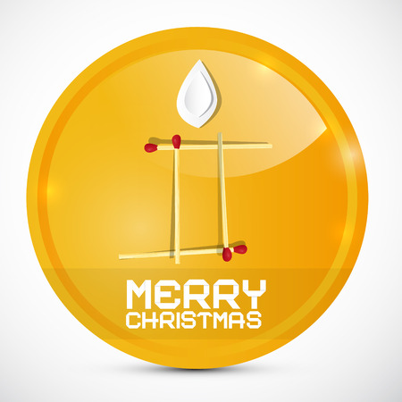Merry Christmas Gold Medal with Paper Candle Vector Illustration Vector