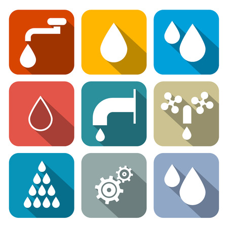 fiambres: Vector Símbolos Agua - Icons Set