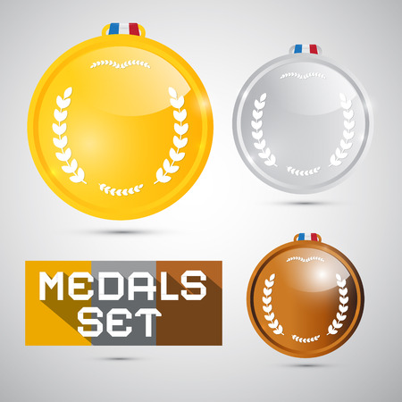 Vector Medals Set - Gold, Silver, Bronze, First, Second, Third Place Symbols Vector