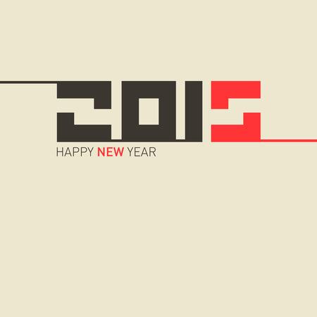 january 1st: 2015 Retro Vector Happy New Year Template