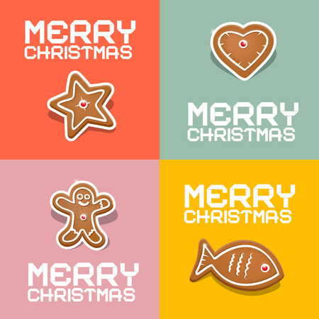 starr: Retro Vector Christmas Heart, Fish, Star and Gingerbread Man Illustration
