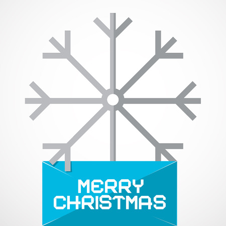Vector Merry Christmas Paper Title with Snow Flake Vector