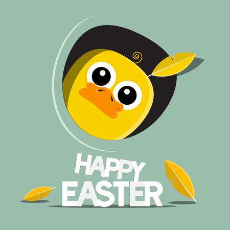 Happy Easter Funny Chicken Vector Illustration