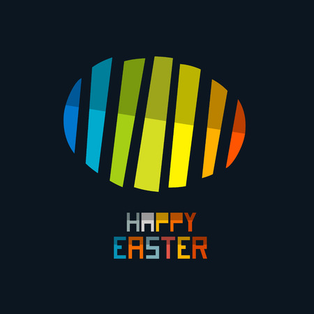 Happy Easter Vector Colorful Abstract Egg Symbol on Dark Background Vector