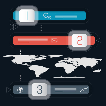 Three Steps Infographics Template with World Map Vector