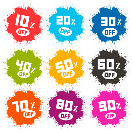 Splash Vector Discount Labels Set Isolated on White Background Vector
