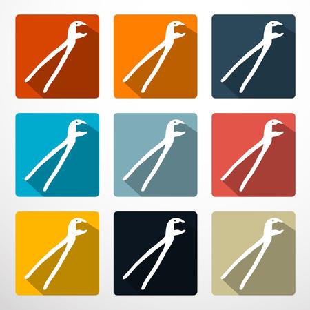 tenailles: Pinces - Pinces Plat Design Icons Set