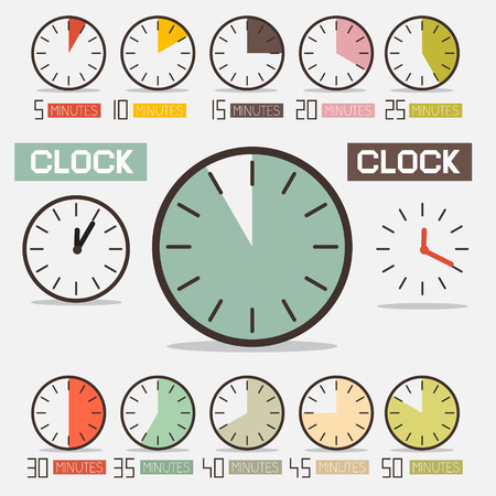 contagem regressiva: Retro Clock - Tempo Contagem regressiva Vector Set Ilustra��o