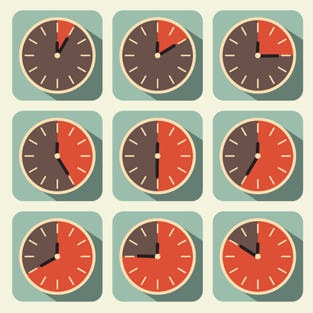 vintage clock: Clock - Time Countdown Vector Set Illustration