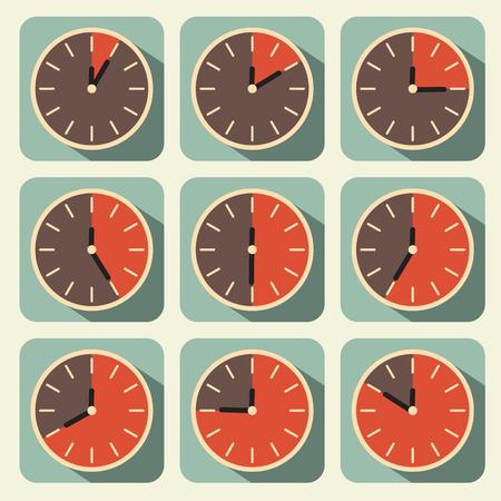 Clock - Time Countdown Vector Set Illustration