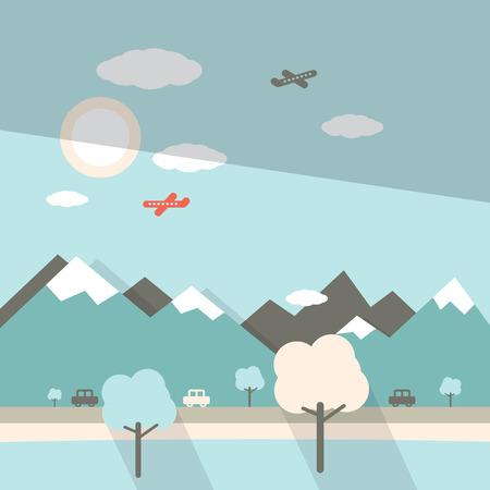 2d map: Landscape Flat Design Illustration