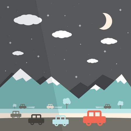 Night Landscape Flat Design Illustration Vector