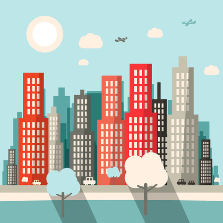 view from the plane: Flat Design City Vector Illustration Illustration