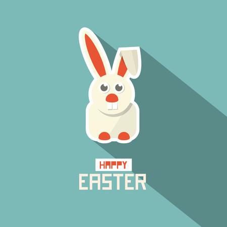 Retro Easter Paper Flat Design Bunny Vector Illustration 向量圖像