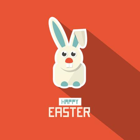 Easter Paper Flat Design Bunny Vector Illustration on Red Background Vector