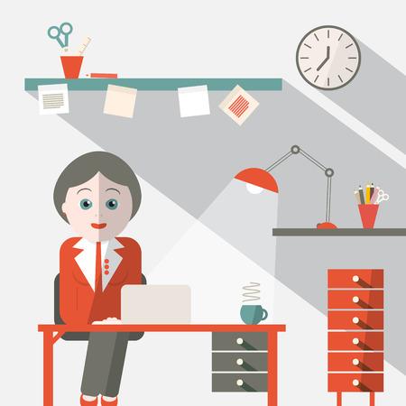 secretary on phone: Secretary in Office Flat Design Vector Illustration Illustration