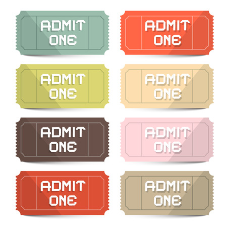 circus ticket: Admit One Tickets Retro Vector Set Illustration