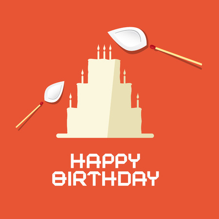 burning paper: Happy Birthday Flat Design Paper Cake with Burning Safety Matches Illustration