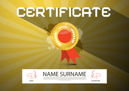 formal signature: Gold Vector Certificate Layout Illustration