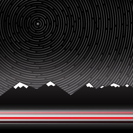 hosszú expozíció: Csillagok Trails vektoros illusztráció hegység Háttér Illusztráció