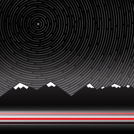 polaris: Star Trails Vector Illustration with Mountains on Background