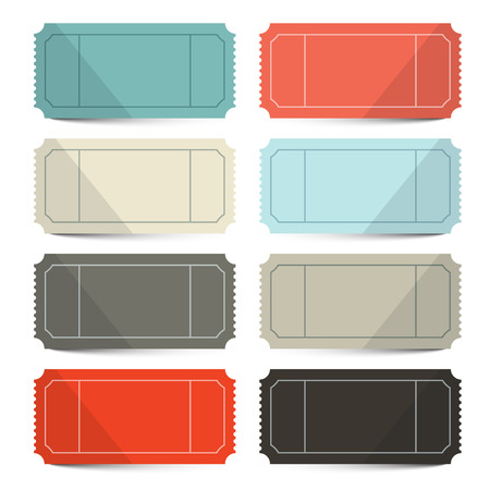circus ticket: Retro Vector Empty Tickets Set Isolated on White