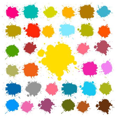 colour splash: Vector Splashes - Blots - Stains Set Illustration