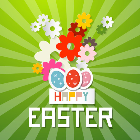 cut flowers: Happy Easter Vector Illustration with Paper Cut Flowers and Eggs on Green Background