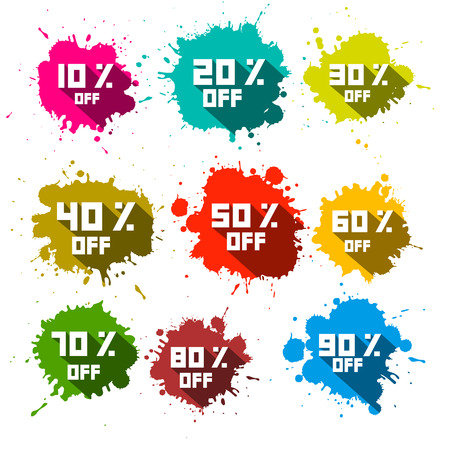 sixty: Vector Discount Splashes - Labels Set Illustration