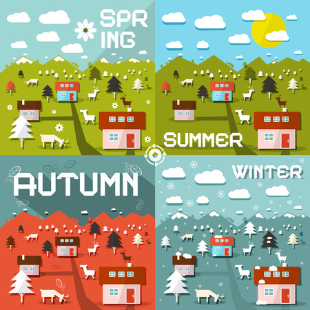 fiambres: Ilustraci�n vectorial Four Seasons Vectores