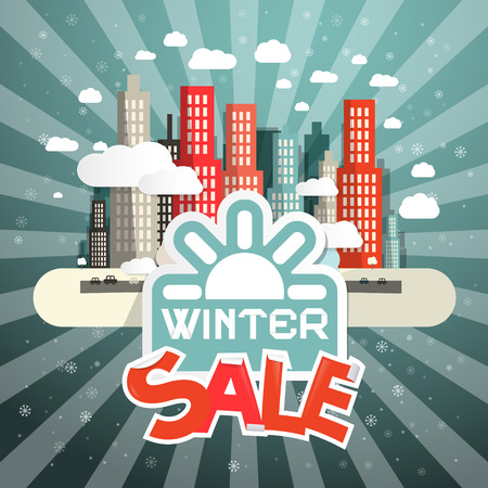 drizzle: Winter Sale Vector Illustration with City, Clouds and Sun