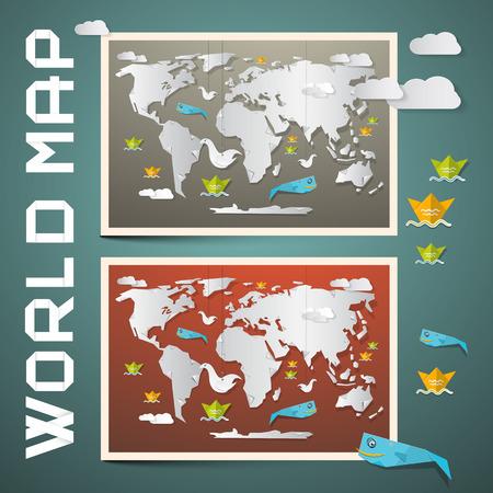 World Maps - Paper Vector Set Vector