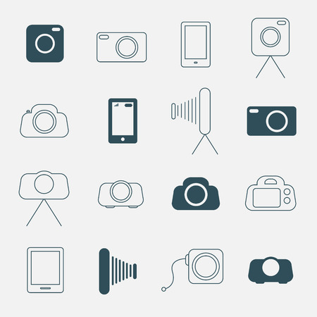 tripod projector: Photo Camera Simple Vector Icons Set