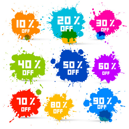 splash: Transparent Colorful Vector Discount Sale Splashes Set Illustration