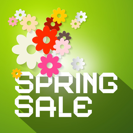 Spring Sale Vector Illustration with Colorful Paper Cut Flowers and Green Background Vector