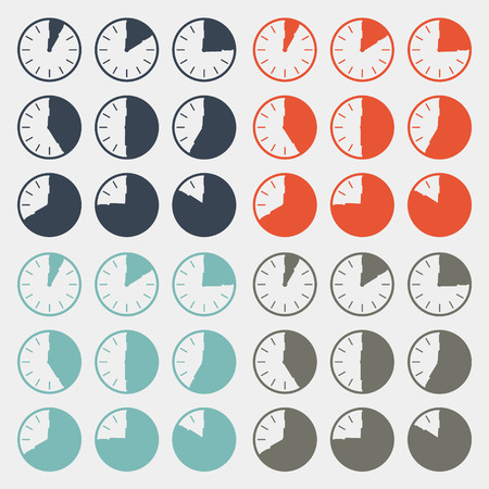 35 40: Vector Flat Design Clock Set Illustration