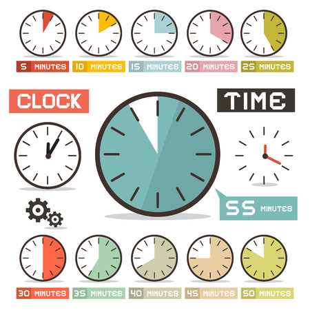 timer: Clock Vector Set in Flat Design Style