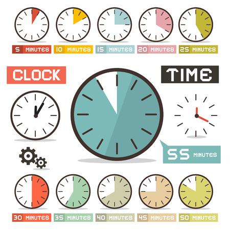 Clock Vector Set in Flat Design Style