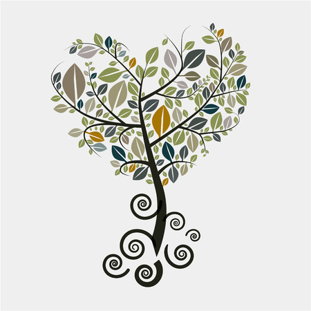 Tree Vector Symbol with Curled Roots Vectores