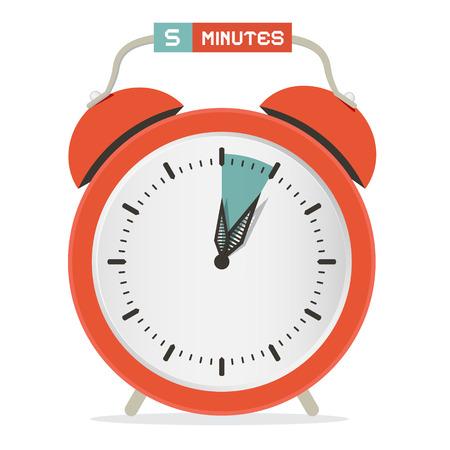 stop watch: Five Minutes Stop Watch - Alarm Clock Vector Illustration Illustration
