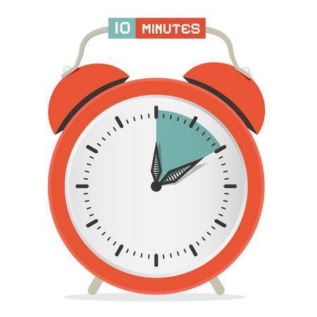 10 分間停止時計 - 目覚まし時計ベクトル イラスト