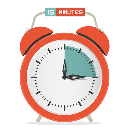 Fifteen Minutes Stop Watch - Alarm Clock Vector Illustration