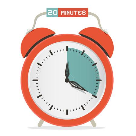 twenty: Twenty Minutes Stop Watch - Alarm Clock Vector Illustration