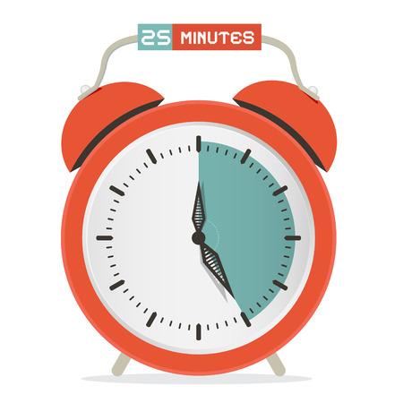 stop watch: Twenty Five Minutes Stop Watch - Alarm Clock Vector Illustration Illustration