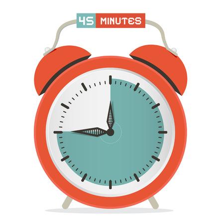 Forty Five Minutes Stop Watch - Alarm Clock Vector Illustration Vector