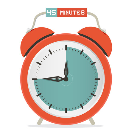 minutes: Forty Five Minutes Stop Watch - Alarm Clock Vector Illustration Illustration