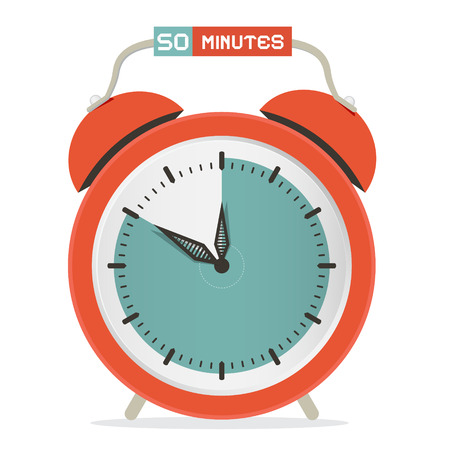 minutes: Fifty Minutes Stop Watch - Alarm Clock Vector Illustration